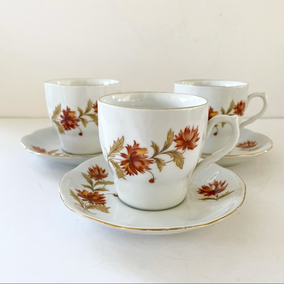 Vintage Regent Romania Tea Coffee Cup Saucer Set 3